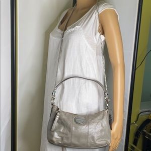 Coach F15141 Signature Gray Patent Leather Bag